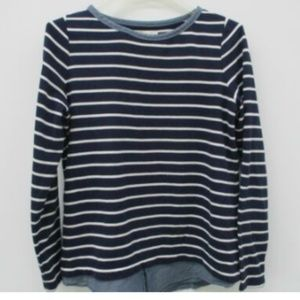 LOFT Women Pullover Top Shirt Tail Chambray Stripe